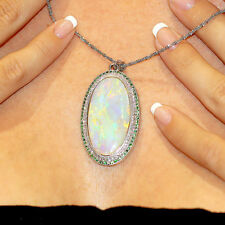 Australian Opal Pendant with Diamond's & Tsavorite's in White Gold 25.75ctw Oval
