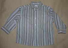 Chemise manches longues fines rayures bleu-marron-kaki Kiabi - 3 ans garçon TBE