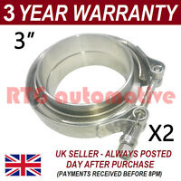 "2X V-BAND CLAMP + FLANGES ALL STAINLESS STEEL EXHAUST TURBO HOSE 3"" 76mm"