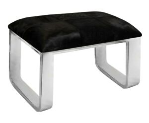 HAMPTON STAINLESS STEEL BLACK HIDE SEAT BENCH OTTOMAN FOOTSTOOL 65 cm