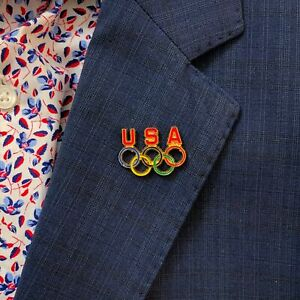 Olympic Rings - Team USA - Vintage Enamel Pin In Hand Ships Today!