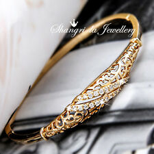 VINTAGE STL 18K GOLD GF Womens Moon Bangle BRACELET with SWAROVSKI Diamond EX746