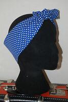 blue white polka dot retro head scarf rockabilly 50s pin up hair wrap nautical