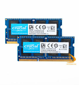 Crucial 16GB 2x8GB PC3-10600 RAM For MacBook Pro 13''/15''/17''Early/Late 2011