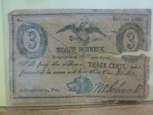 1863 Proprietary Currency Moses Schneck - Eagle Hotel 3 Cents Obsolete Currency