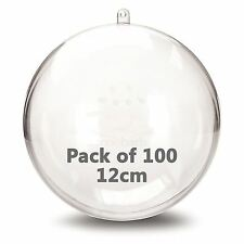JFM 12cm Clear Plastic Craft Ball Acrylic Transparent Sphere Bauble Pack of 100