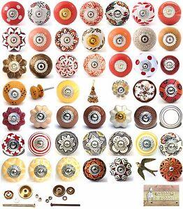 Red brown gold ceramic knobs drawer pulls cupboard door knobs porcelain china