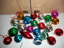 22 Vintage Faceted Plastic Christmas Tree Baubles 2 are Concave 1 teardrop