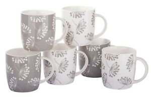 Kaffeebecher Set 6-tlg. NORLAND ca. 350ml Blüten weiß-grau Porzellan Waterside