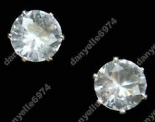 CLIP ON magnetic CZ CUBIC ZIRCONIA 8mm stud EARRINGS