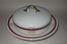 """VINTAGE GB CZECHOSLOVAKIA GOLD TRIM ROUND COVERED SOUP BOWL 7 13/16"""""""