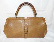 Goldpfeil 60s 70s vintage cuero auténtico bolsa asas de cuero bolso Leather Bag 60er