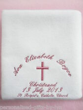 PERSONALISED CHRISTENING SHAWL - BLANKET fleece available in 5 colours