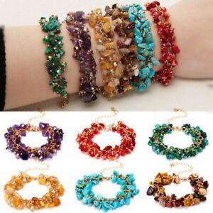 Birthstone Natural Crystal Stone Bracelet Bangle Beads Quartz Women Jewelry Gift