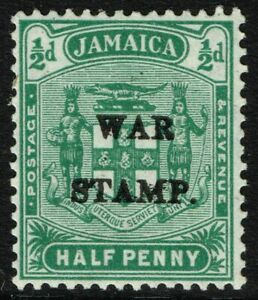 SG 73 JAMAICA 1917 WAR STAMP - HALFPENNY BLUE-GREEN - MOUNTED MINT