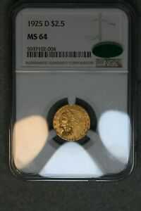 1925-D $2.5 Gold Quarter Eagle NGC MS64 CAC Silver US Coin