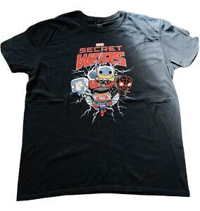 Marvel Secret Wars Pop Tees T-Shirt Size XL Black Graphic Tee