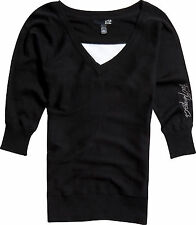 New! Fox Racing Ladies Medium Game on Sweater V-Neck Black