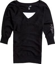 New! Fox Racing Ladies Medium Game on Sweater V-Neck Black