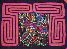 Handmade Traditional Reverse Appliqué Mola Panel Kuna Tribal Women South America