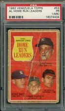 1962 Venezuela Topps Baseball Card #53 AL Home Run Leaders Mantle Maris PSA 1MK