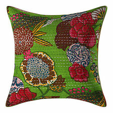 Indian Handmade Ethnic Cotton Floral Kantha Cushion Covers Throw Decor Home
