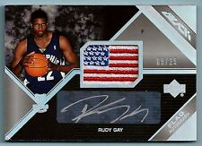 RUDY GAY 2006/07 UPPER DECK BLACK USA FLAG PATCH AUTOGRAPH AUTO /25