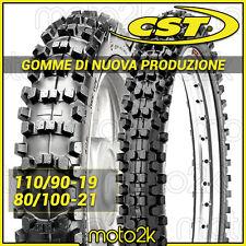COPPIA GOMME COPERTONI PNEUMATICI CST 110/90-19 62M + 80/100-21 MOTOCROSS ENDURO