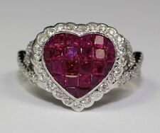 14k White Gold Red Ruby Heart Shape And White Diamond Twist Band Ring Size 6.25