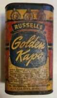 Vintage Tin-Golden Kaps,  Russell Laboratories Kansas City, Mo. Full Rare Find!