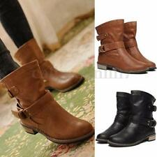 WOMENS MID CALF BUCKLE BOOTS LOW HEEL RIDING QUILTED FAUX FUR LINED WINTER SHOES