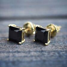 14k Gold Black Onyx Princess Cut 925 Sterling Silver Stud Screw Back Earrings
