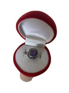 Antique Sterling Silver Amethyst And Marcasite Ring Size O