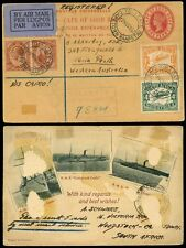 SOUTH AFRICA QV REGISTERED POSTCARD STATIONERY AIR to AUSTRALIA...TOLLGATE CAPE