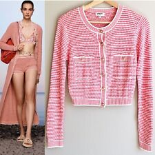 New CHANEL 21C P70388 PINK STRIPED CROPPED CARDIGAN gold CC buttons FR 36/S/XS