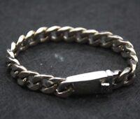 Pure S925 Sterling Silver Men Unique 9mm W Curb Chain Bracelet / 35.7g/ 7.5inch