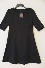 NWT Topshop Black Short Sleeve Flare-Skirt Textured Everyday Dress Size 10