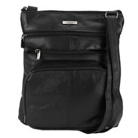 Ladies Women Super Soft Leather Shoulder Cross Body Bag with Multi Pockets 1984