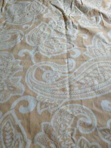 Pottery Barn Tan & White Paisley Shower Curtain Fabric