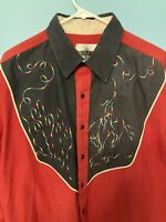 Ranch And Town Western Button Down Shirt. Rainbow Cactus And Cowboy On Horse. XL