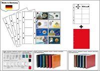 1 LOOK 1-7404-R Münzhüllen PREMIUM 8x  93x56 mm + rote ZWL Für Coin Cards