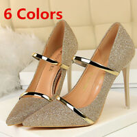 Women Pumps Fashion Glitter Pointed Toe Stilettos High Heels Party Ladies Shoes