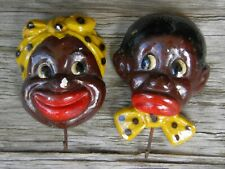 Vintage Black Americana Man and Woman Chalkware Wall Plaques w/Hooks Potholder