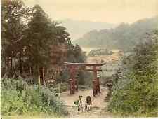 Japon, 箱根, Hakone Vintage albumen print, Japan Tirage albuminé aquarellé