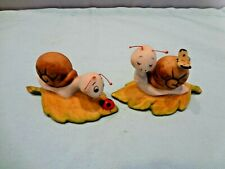 """Homco Snail Figurines - Set of 2 - 3 1/4"""" L - With Butterfly and Lady Bug #8902"""