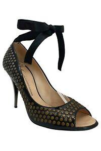 Giuseppe Zanotti Studded Black Patent Leather Peep Toe Pumps High Heels Size 39