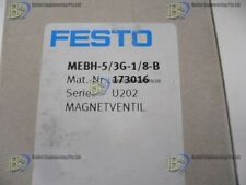 "FESTO MEBH-5/3G-1/8-B PNEUMATIC VALVE 5/3WAY 24VDC 1/8"" BSP + SUB BASE"