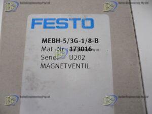 "FESTO MEBH-5/3G-1/8-B PNEUMATIC VALVE 5/3WAY 24VDC 1/8"" BSP + SUB BASE"