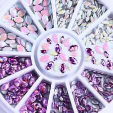 3D Nail Art Decoration in Wheel Purple Holographic Mermaid Marquise Studs Decor