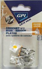 Lot de 4 Crochets Plastique No2 Bois-Brique-Plâtre + Système de Coinceur  GPI